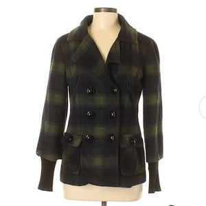 Kensie Plaid Button Front Jacket